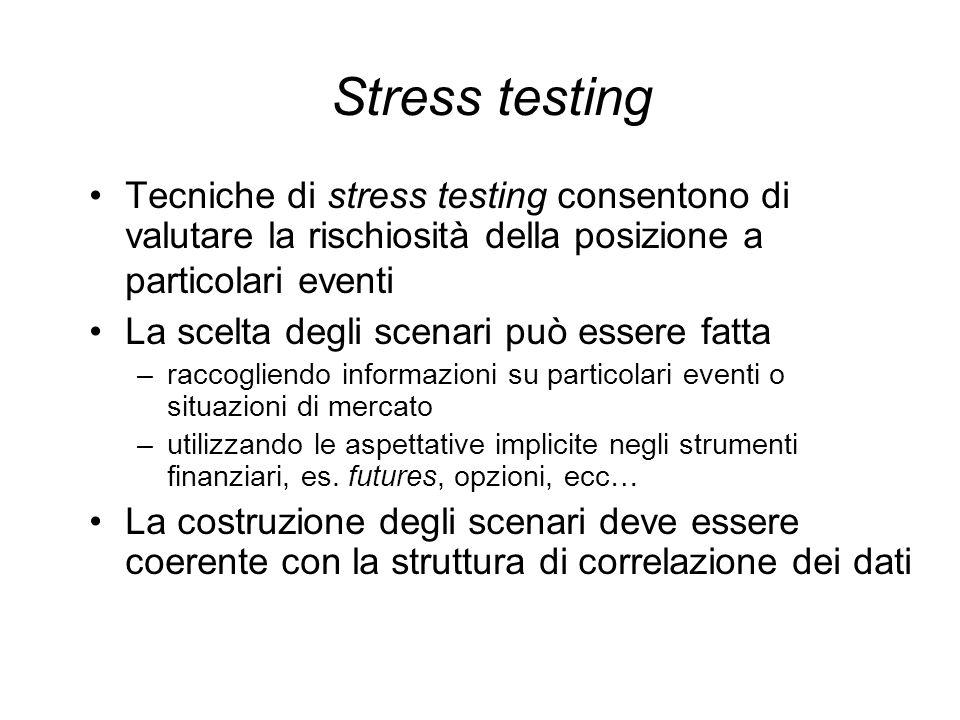 Stress testing Tecniche di stress testing consentono di valutare la rischiosità della posizione a particolari eventi La scelta degli scenari può esser