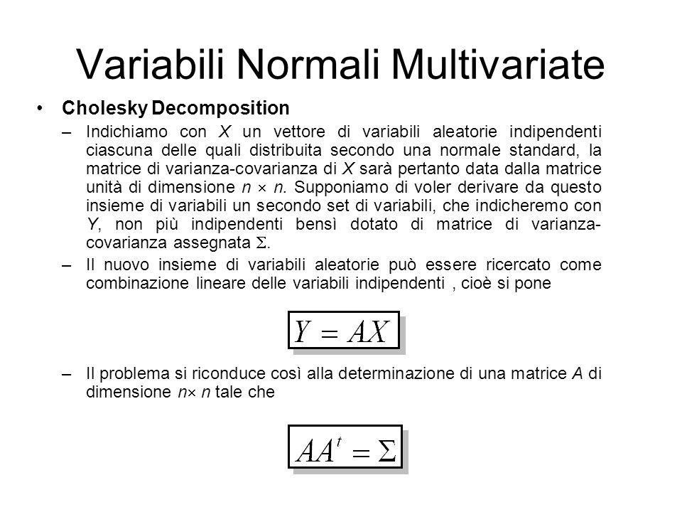 Variabili Normali Multivariate Cholesky Decomposition –Indichiamo con X un vettore di variabili aleatorie indipendenti ciascuna delle quali distribuit