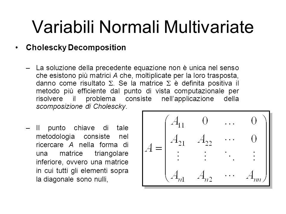 Cholescky Decomposition –La soluzione della precedente equazione non è unica nel senso che esistono più matrici A che, moltiplicate per la loro traspo