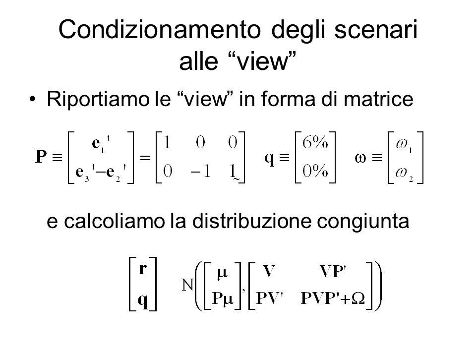 Condizionamento degli scenari alle view Riportiamo le view in forma di matrice e calcoliamo la distribuzione congiunta ~