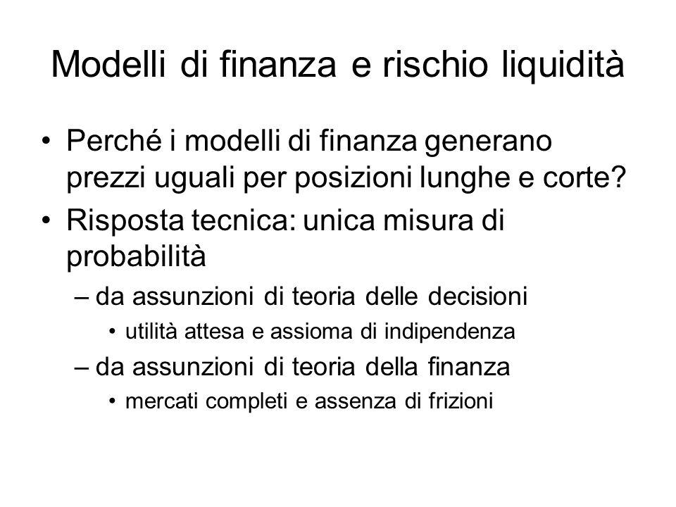 Modelli di finanza e rischio liquidità Perché i modelli di finanza generano prezzi uguali per posizioni lunghe e corte? Risposta tecnica: unica misura