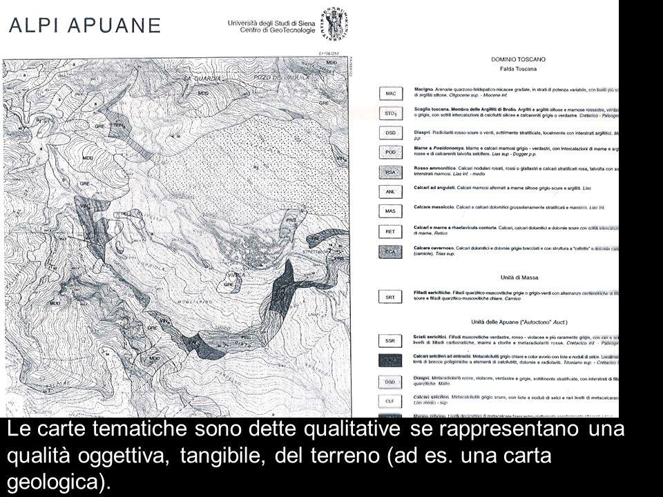 Le carte tematiche sono dette qualitative se rappresentano una qualità oggettiva, tangibile, del terreno (ad es. una carta geologica).