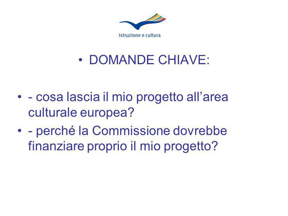DOMANDE CHIAVE: - cosa lascia il mio progetto allarea culturale europea.