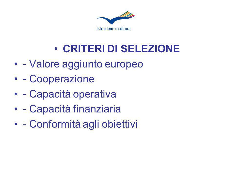 CRITERI DI SELEZIONE - Valore aggiunto europeo - Cooperazione - Capacità operativa - Capacità finanziaria - Conformità agli obiettivi