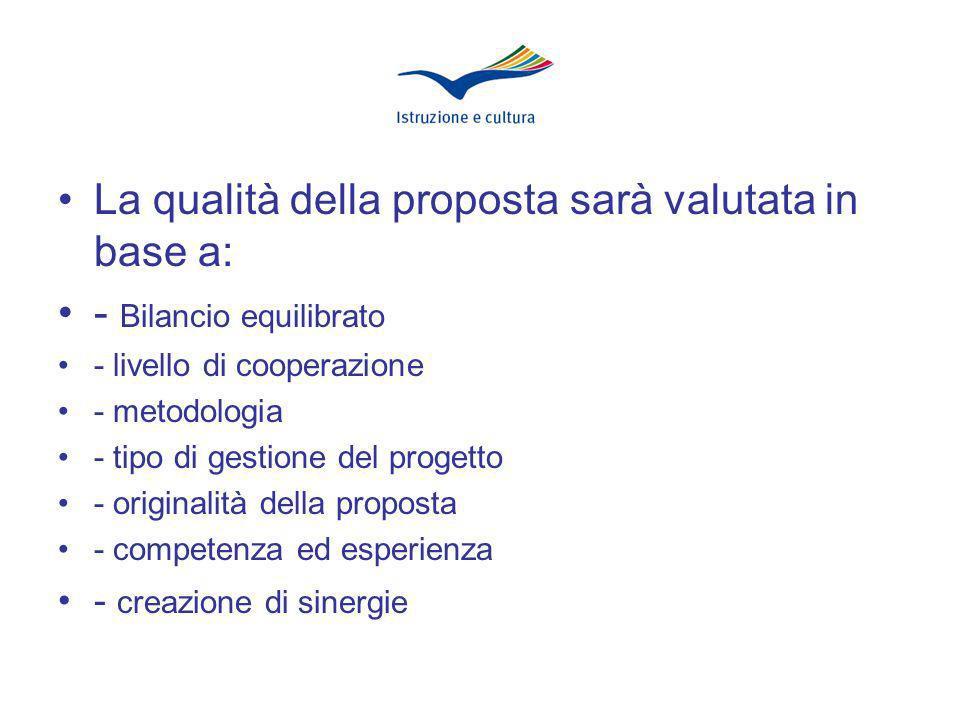 La qualità della proposta sarà valutata in base a: - Bilancio equilibrato - livello di cooperazione - metodologia - tipo di gestione del progetto - originalità della proposta - competenza ed esperienza - creazione di sinergie