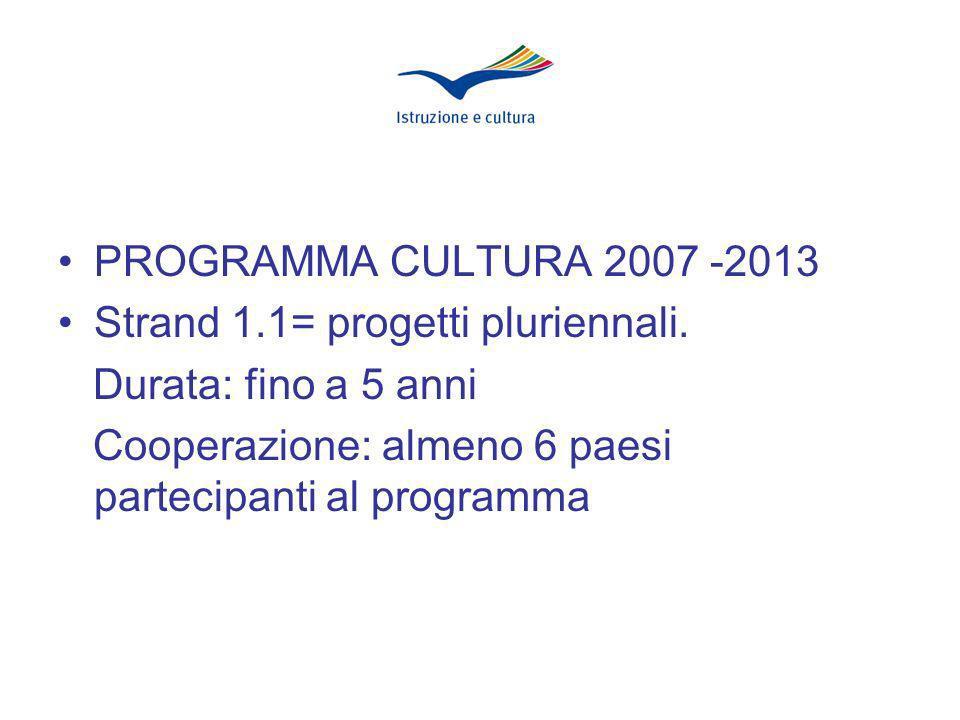 PROGRAMMA CULTURA 2007 -2013 Strand 1.1= progetti pluriennali.