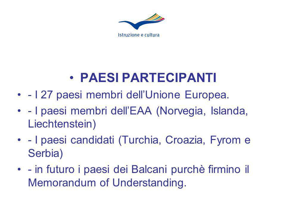 PAESI PARTECIPANTI - I 27 paesi membri dellUnione Europea.