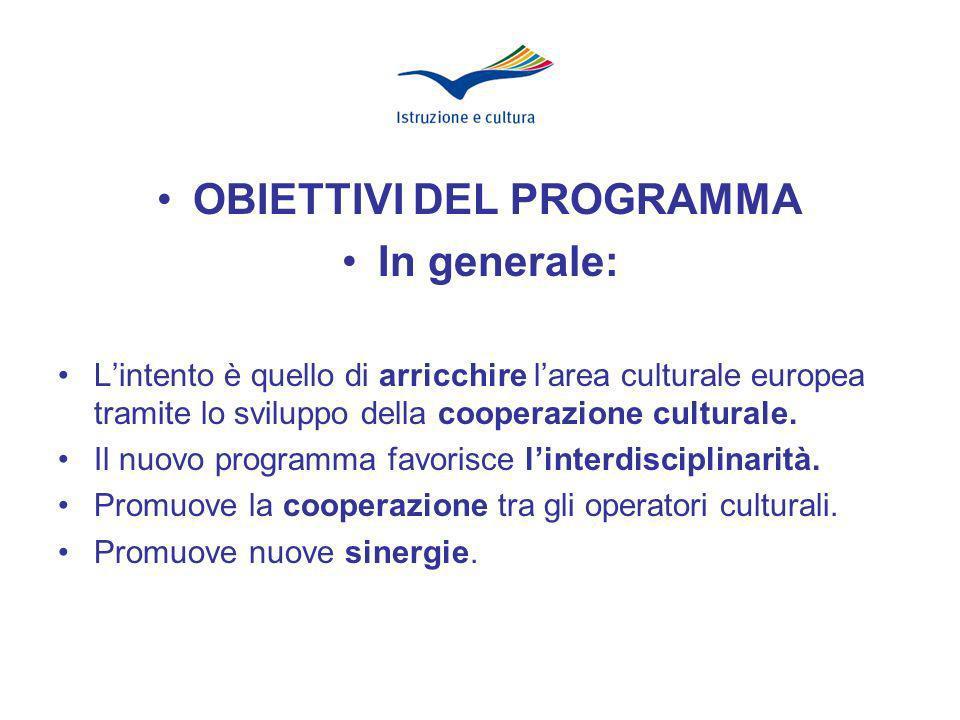 In modo specifico: Promuove la mobilità transnazionale Incoraggia lo spostamento delle opere darte Favorisce il dialogo interculturale
