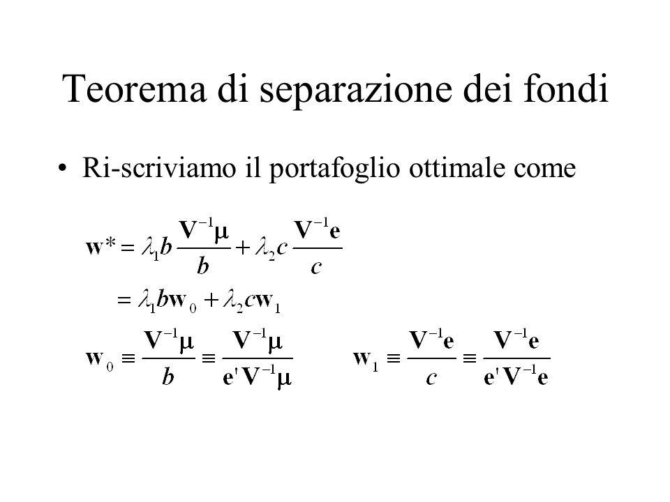Separazione dei due fondi E immediato verificare che –Sia w 0 che w 1 sono portafogli (ew 0 = ew 1 =1) –Sia w 0 che w 1 sono sulla frontiera efficiente.