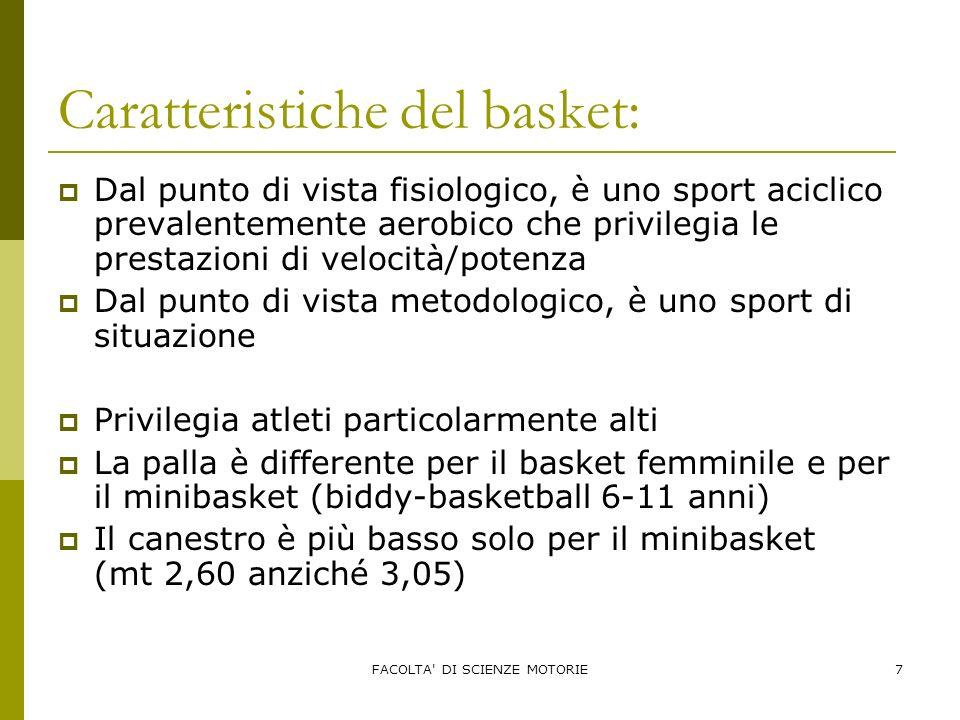 FACOLTA' DI SCIENZE MOTORIE7 Caratteristiche del basket: Dal punto di vista fisiologico, è uno sport aciclico prevalentemente aerobico che privilegia