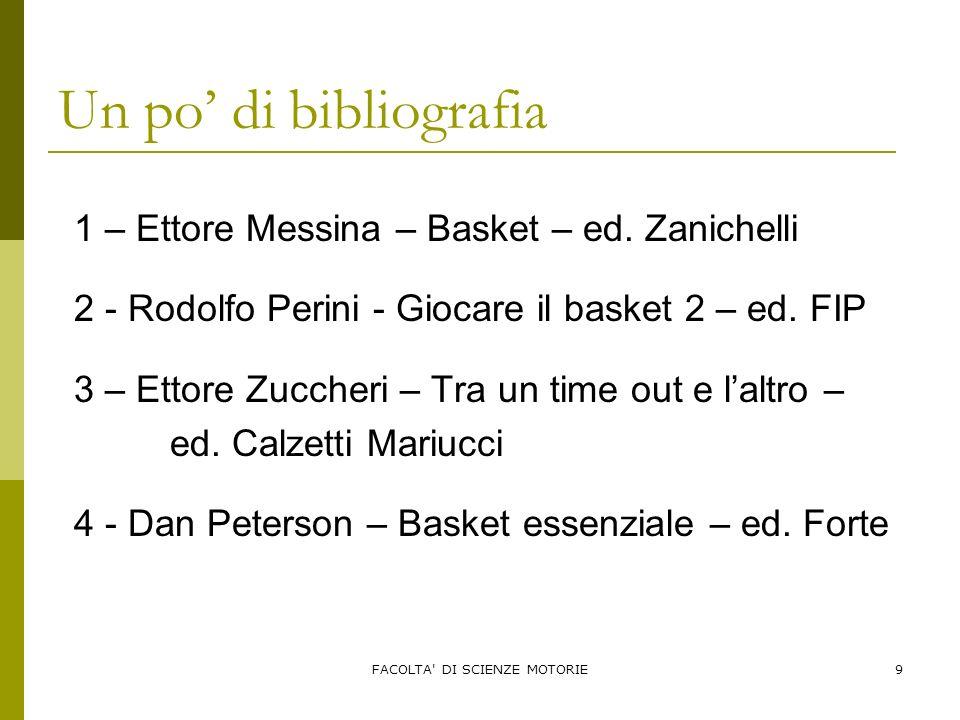 FACOLTA' DI SCIENZE MOTORIE9 Un po di bibliografia 1 – Ettore Messina – Basket – ed. Zanichelli 2 - Rodolfo Perini - Giocare il basket 2 – ed. FIP 3 –