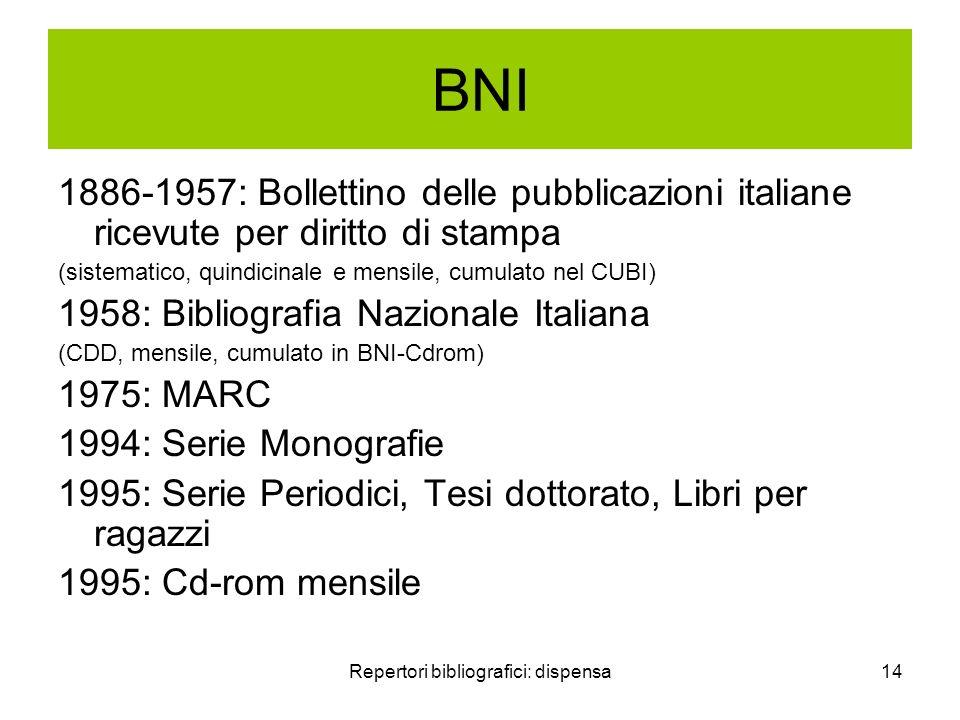 Repertori bibliografici: dispensa14 BNI 1886-1957: Bollettino delle pubblicazioni italiane ricevute per diritto di stampa (sistematico, quindicinale e
