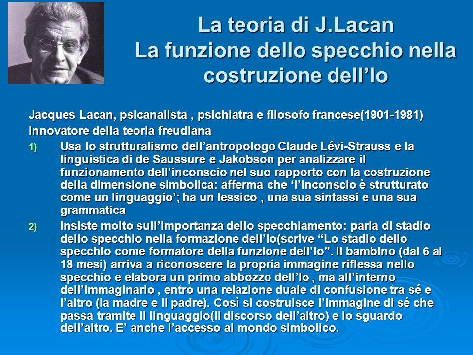 La teoria di J.Lacan La funzione dello specchio nella costruzione dellIo Jacques Lacan, psicanalista, psichiatra e filosofo francese(1901-1981) Innova