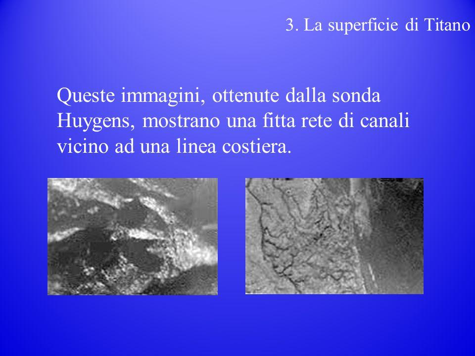 Queste immagini, ottenute dalla sonda Huygens, mostrano una fitta rete di canali vicino ad una linea costiera.