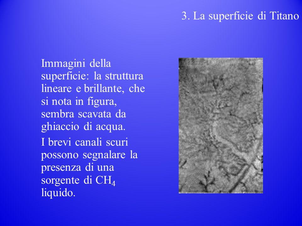 Immagini della superficie: la struttura lineare e brillante, che si nota in figura, sembra scavata da ghiaccio di acqua.