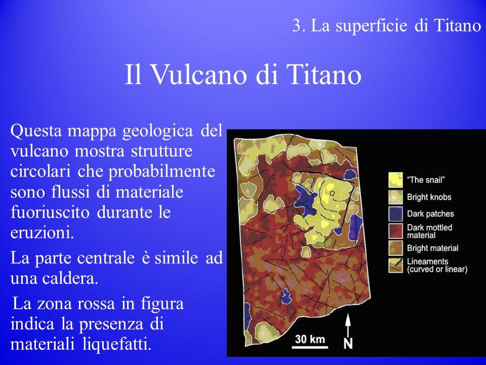 Questa mappa geologica del vulcano mostra strutture circolari che probabilmente sono flussi di materiale fuoriuscito durante le eruzioni.