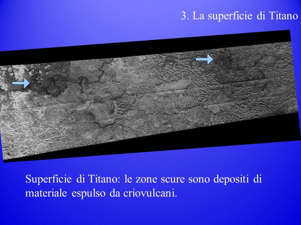 3. La superficie di Titano Superficie di Titano: le zone scure sono depositi di materiale espulso da criovulcani.