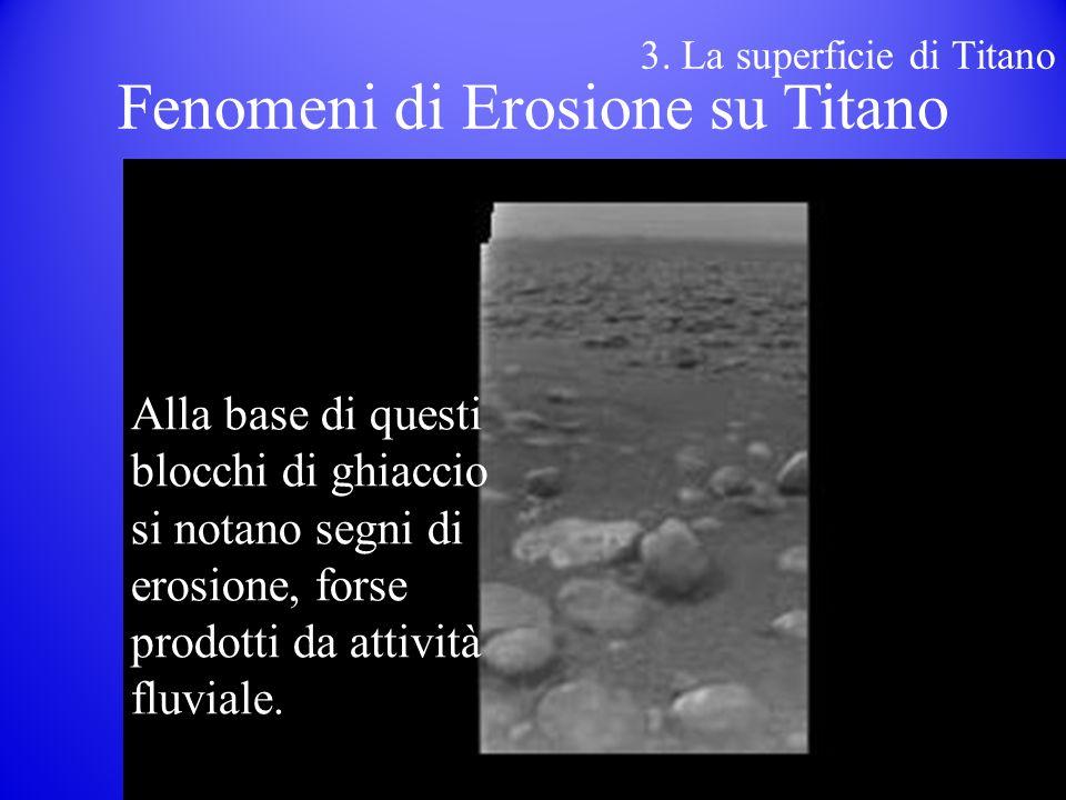 Alla base di questi blocchi di ghiaccio si notano segni di erosione, forse prodotti da attività fluviale.