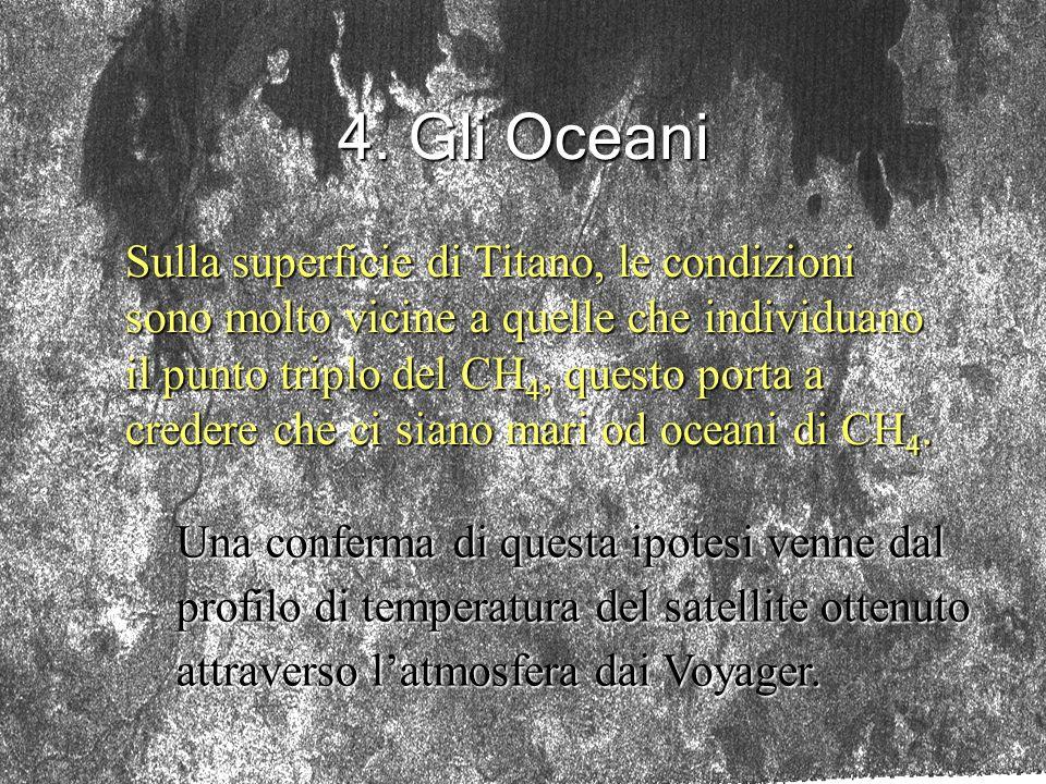 4. Gli Oceani Sulla superficie di Titano, le condizioni sono molto vicine a quelle che individuano il punto triplo del CH 4, questo porta a credere ch