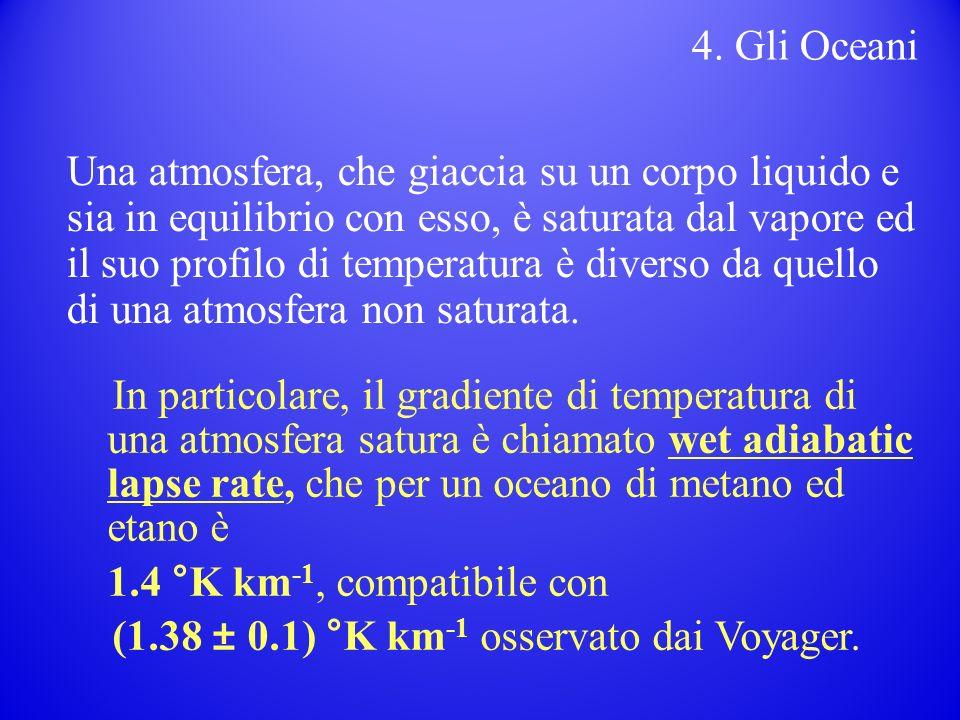Una atmosfera, che giaccia su un corpo liquido e sia in equilibrio con esso, è saturata dal vapore ed il suo profilo di temperatura è diverso da quello di una atmosfera non saturata.