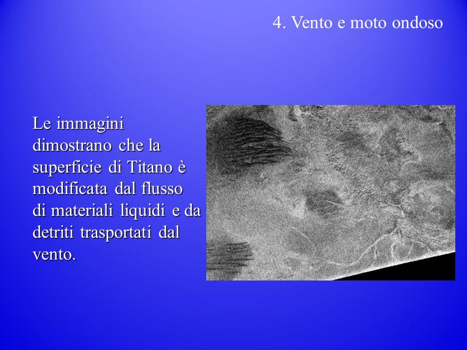 Le immagini dimostrano che la superficie di Titano è modificata dal flusso di materiali liquidi e da detriti trasportati dal vento.