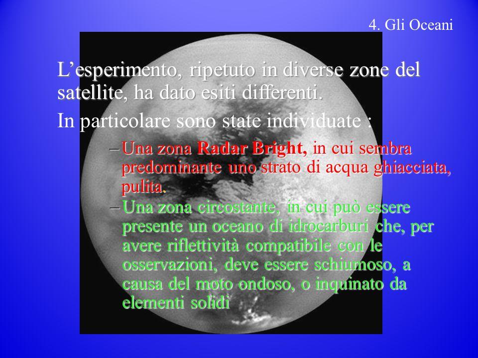 4.Gli Oceani Lesperimento, ripetuto in diverse zone del satellite, ha dato esiti differenti.