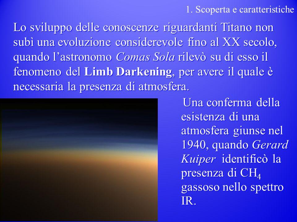 Lo sviluppo delle conoscenze riguardanti Titano non subì una evoluzione considerevole fino al XX secolo, quando lastronomo Comas Sola rilevò su di esso il fenomeno del Limb Darkening, per avere il quale è necessaria la presenza di atmosfera.