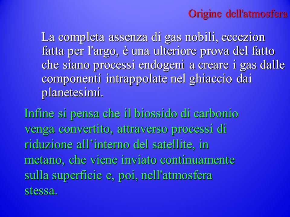 Origine dell atmosfera La completa assenza di gas nobili, eccezion fatta per l argo, è una ulteriore prova del fatto che siano processi endogeni a creare i gas dalle componenti intrappolate nel ghiaccio dai planetesimi.