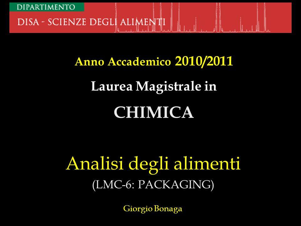 Analisi degli alimenti (LMC-6: PACKAGING) Giorgio Bonaga Anno Accademico 2010/2011 Laurea Magistrale in CHIMICA