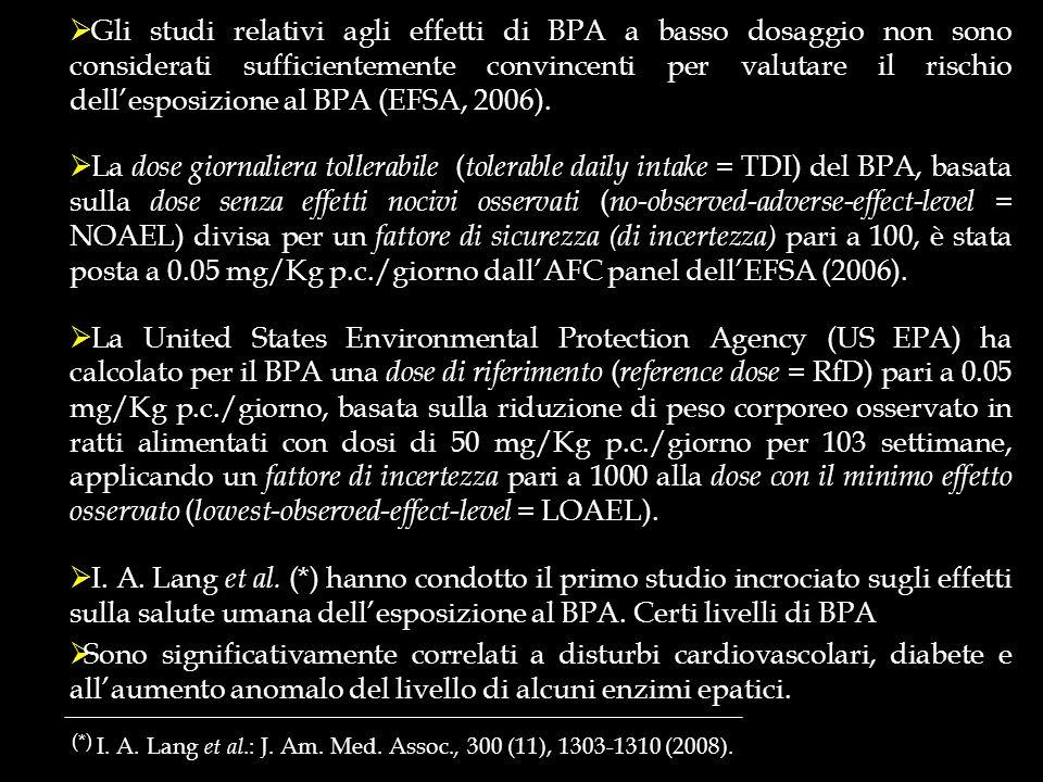 (*) I. A. Lang et al.: J. Am. Med. Assoc., 300 (11), 1303-1310 (2008). Gli studi relativi agli effetti di BPA a basso dosaggio non sono considerati su