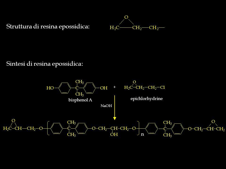 Struttura di resina epossidica: Sintesi di resina epossidica: n NaOH + bisphenol A epichlorhydrine