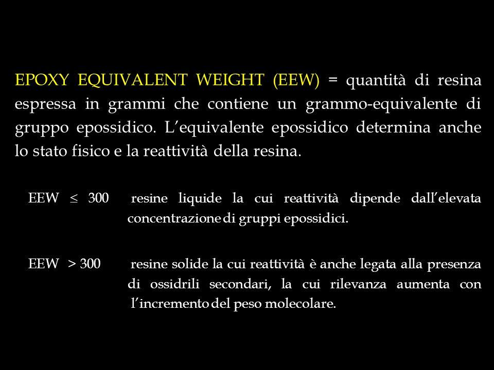 EPOXY EQUIVALENT WEIGHT (EEW) = quantità di resina espressa in grammi che contiene un grammo-equivalente di gruppo epossidico. Lequivalente epossidico