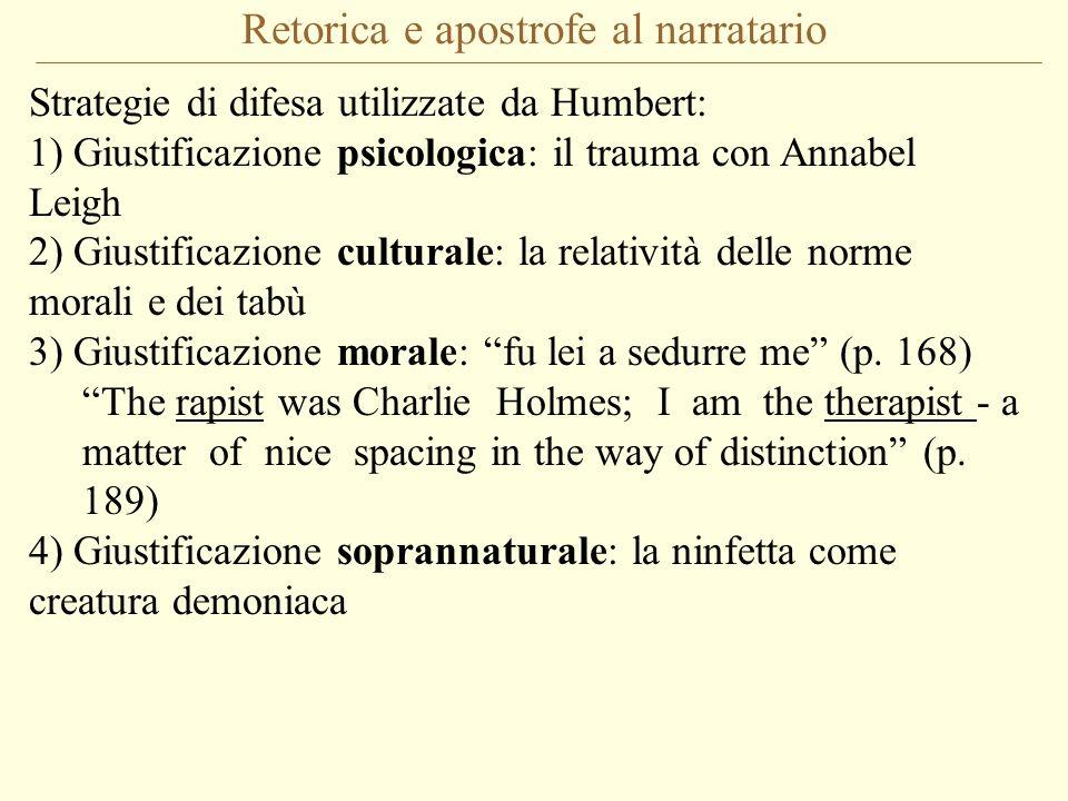 Retorica e apostrofe al narratario Strategie di difesa utilizzate da Humbert: 1) Giustificazione psicologica: il trauma con Annabel Leigh 2) Giustific