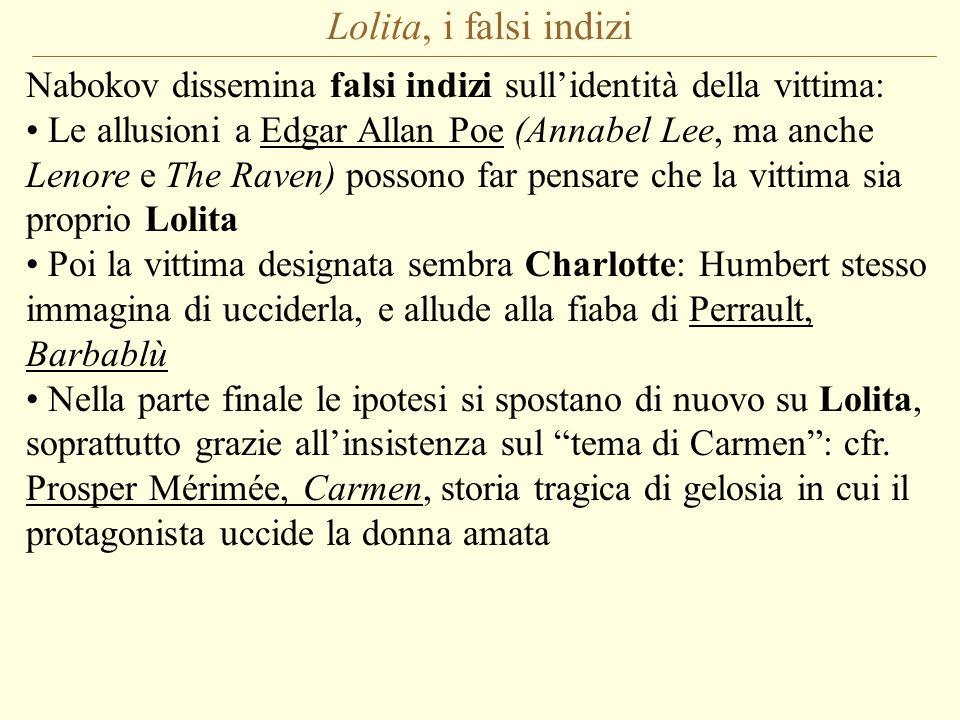 Lolita, i falsi indizi Nabokov dissemina falsi indizi sullidentità della vittima: Le allusioni a Edgar Allan Poe (Annabel Lee, ma anche Lenore e The R