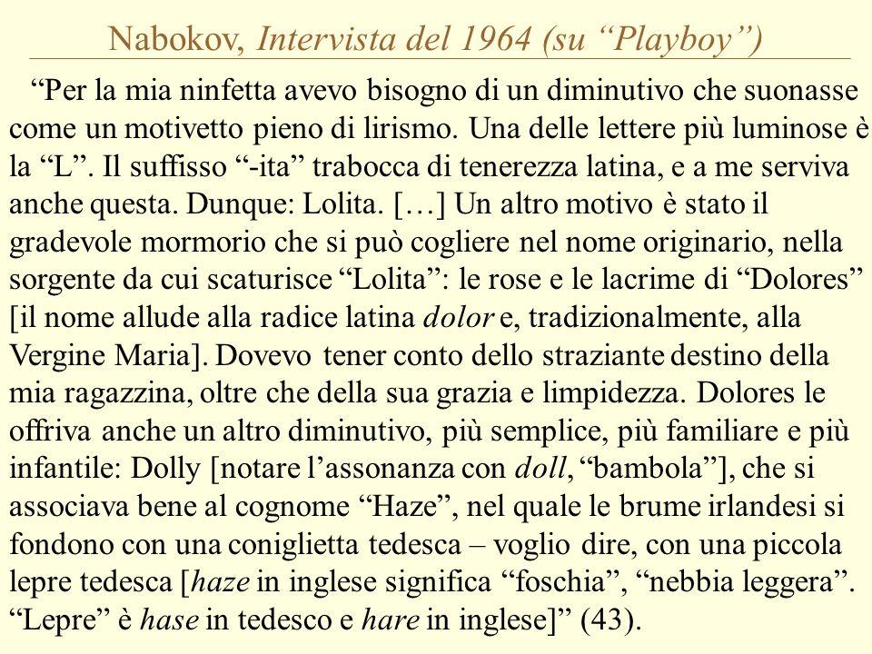 Nabokov, Intervista del 1964 (su Playboy) Per la mia ninfetta avevo bisogno di un diminutivo che suonasse come un motivetto pieno di lirismo. Una dell