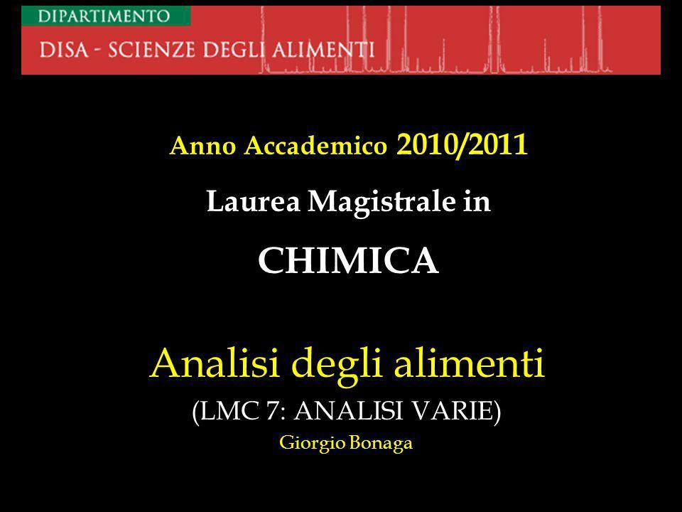 Analisi degli alimenti (LMC 7: ANALISI VARIE) Giorgio Bonaga Anno Accademico 2010/2011 Laurea Magistrale in CHIMICA