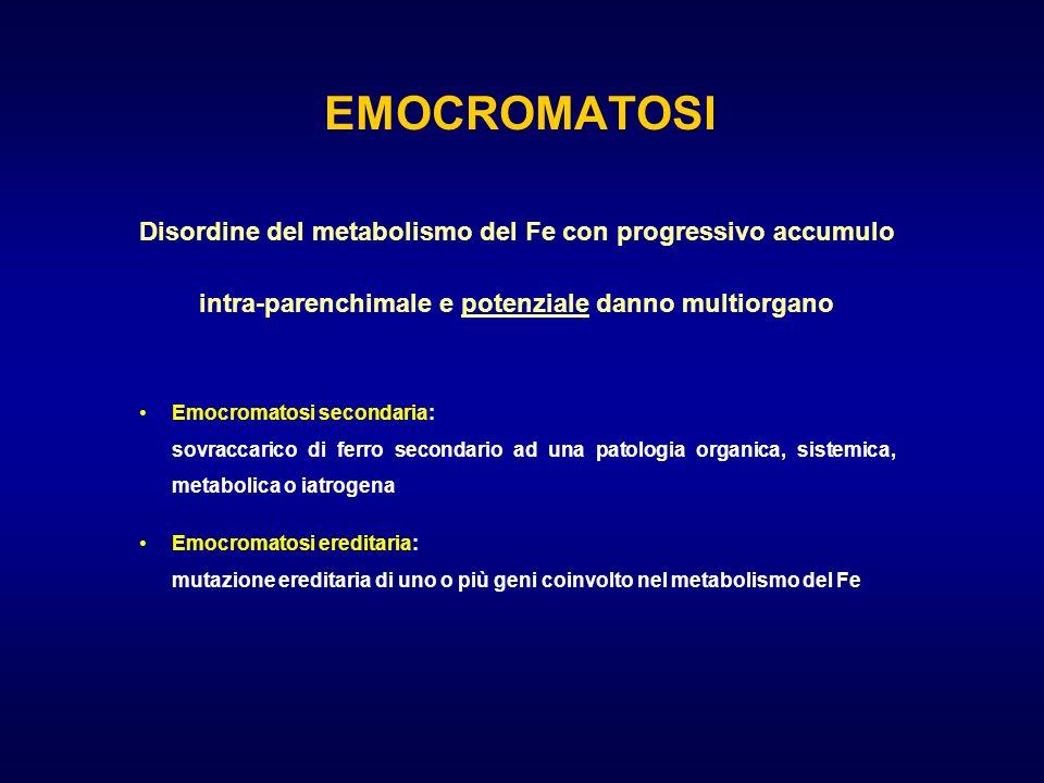 Disordine del metabolismo del Fe con progressivo accumulo intra-parenchimale e potenziale danno multiorgano Emocromatosi secondaria: sovraccarico di f