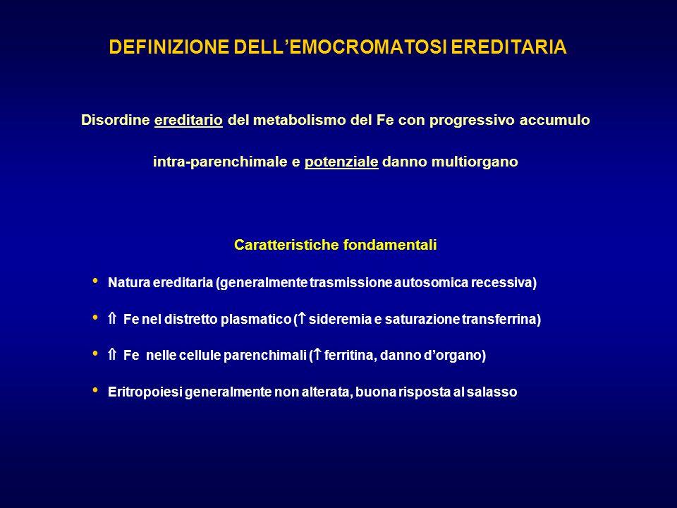 DEFINIZIONE DELLEMOCROMATOSI EREDITARIA Disordine ereditario del metabolismo del Fe con progressivo accumulo intra-parenchimale e potenziale danno mul