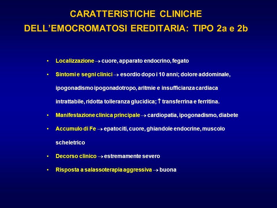 CARATTERISTICHE CLINICHE DELLEMOCROMATOSI EREDITARIA: TIPO 2a e 2b Localizzazione cuore, apparato endocrino, fegato Sintomi e segni clinici esordio do
