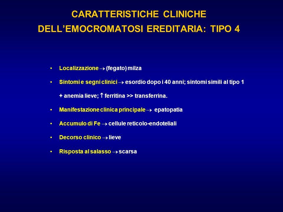 CARATTERISTICHE CLINICHE DELLEMOCROMATOSI EREDITARIA: TIPO 4 Localizzazione (fegato) milza Sintomi e segni clinici esordio dopo i 40 anni; sintomi sim
