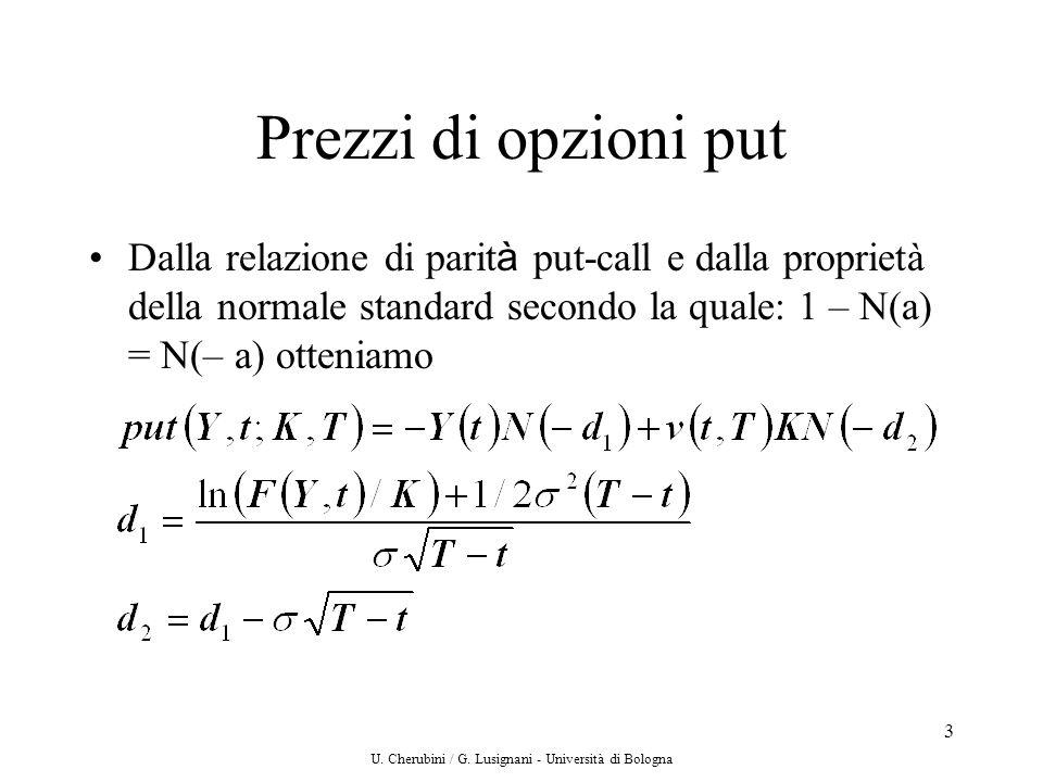 U. Cherubini / G. Lusignani - Università di Bologna 3 Prezzi di opzioni put Dalla relazione di parit à put-call e dalla proprietà della normale standa