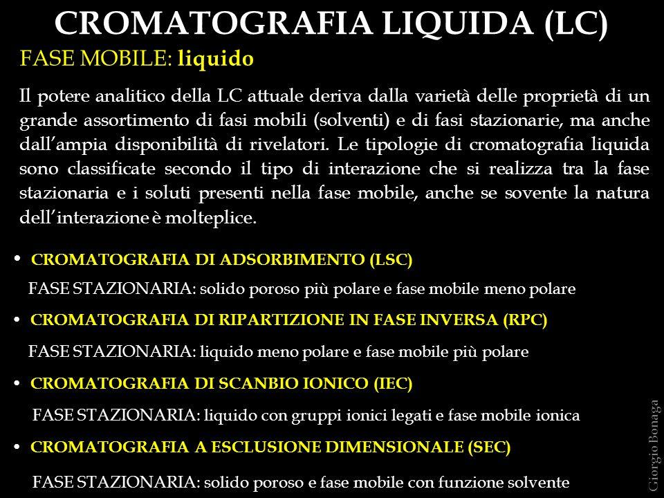 La cromatografia liquida attuale è fondamentalmente HPLC ( High Performance Liquid Chomatography ) in tutte le varianti dei metodi di separazione.