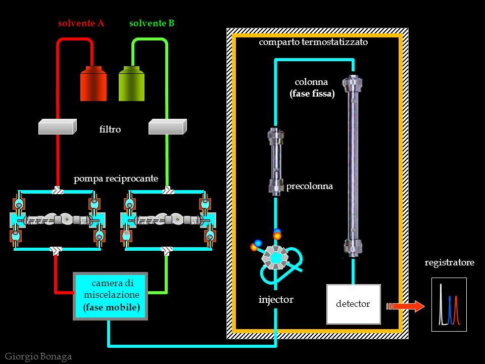 RIVELATORE GRANDEZZA MISURATA SPECIFICITA LOD (*) (grammi) RANGE DINAMICO LINEARE ad indice di rifrazioneindice di rifrazioneuniversale10 -10 10 3 a fluorescenzafluorescenzaselettivo10 -14 10 3 ad assorbimento UV-VISassorbanzaselettivo10 -11 10 4 elettrochimico (amperometro)conduttanzaselettivo10 -15 10 5 evaporative light scatteringluce diffusauniversale10 -12 10 5 spettrometro di massamassa/caricauniversale10 -12 10 5 PRESTAZIONI DEI RIVELATORI HPLC ( * ) LOD = limit of detection (diverso da: LOQ = limit of quantification ) Giorgio Bonaga