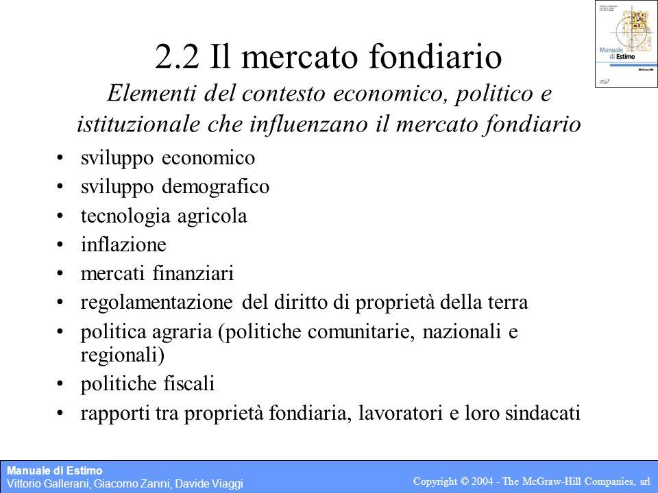 Manuale di Estimo Vittorio Gallerani, Giacomo Zanni, Davide Viaggi Copyright © 2004 - The McGraw-Hill Companies, srl Capitolo 2 Stima dei fondi rustici
