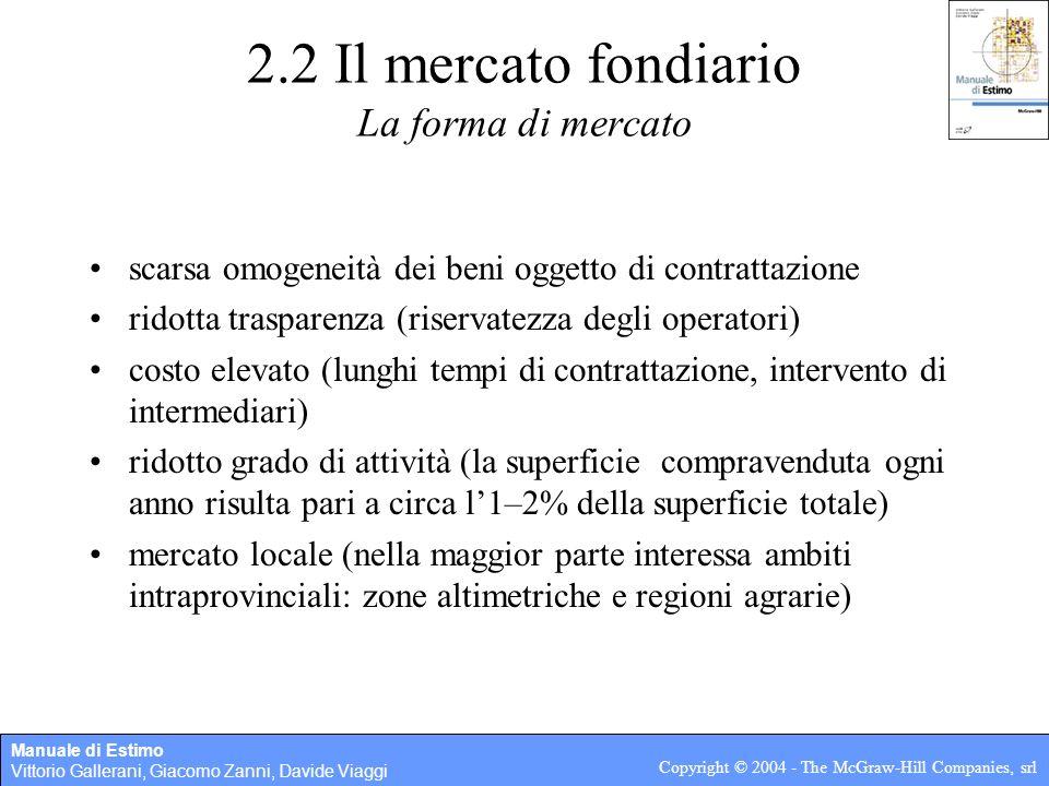 Manuale di Estimo Vittorio Gallerani, Giacomo Zanni, Davide Viaggi Copyright © 2004 - The McGraw-Hill Companies, srl 2.2 Il mercato fondiario Caratter