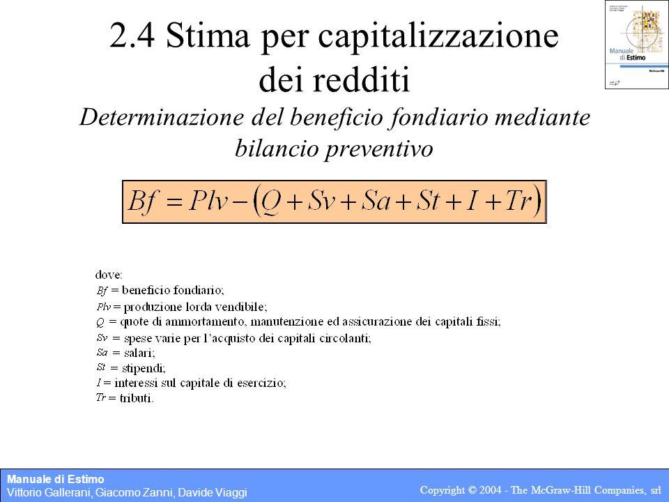 Manuale di Estimo Vittorio Gallerani, Giacomo Zanni, Davide Viaggi Copyright © 2004 - The McGraw-Hill Companies, srl 2.4 Stima per capitalizzazione de