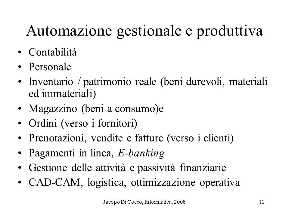 Jacopo Di Cocco, Informatica, 200811 Automazione gestionale e produttiva Contabilità Personale Inventario / patrimonio reale (beni durevoli, materiali