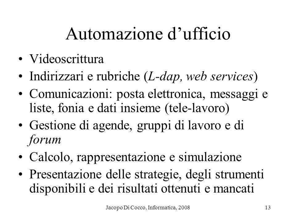 Jacopo Di Cocco, Informatica, 200813 Automazione dufficio Videoscrittura Indirizzari e rubriche (L-dap, web services) Comunicazioni: posta elettronica