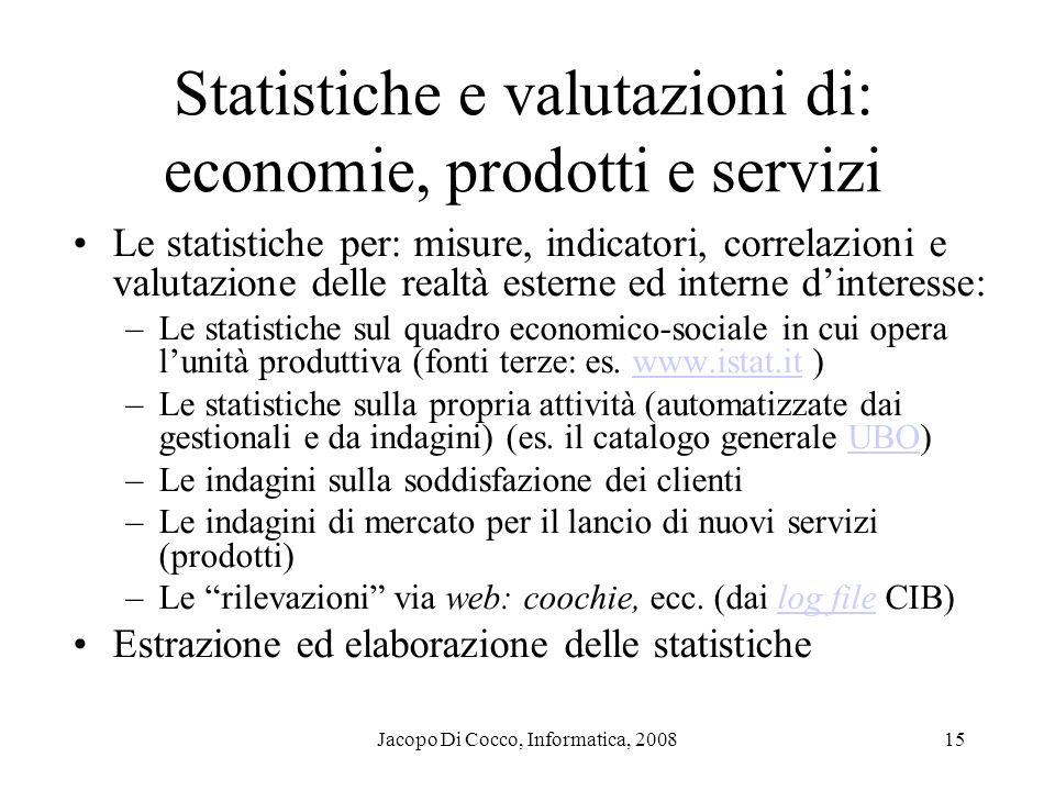Jacopo Di Cocco, Informatica, 200815 Statistiche e valutazioni di: economie, prodotti e servizi Le statistiche per: misure, indicatori, correlazioni e