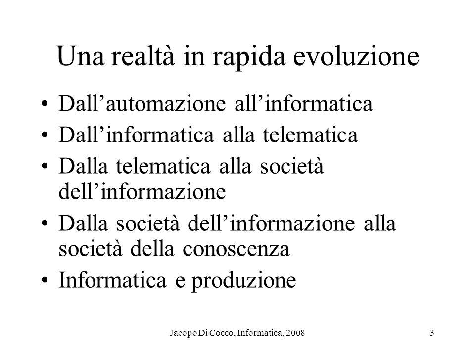Jacopo Di Cocco, Informatica, 20083 Una realtà in rapida evoluzione Dallautomazione allinformatica Dallinformatica alla telematica Dalla telematica al